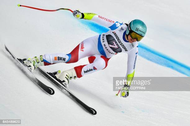 Switzerland's Wendy Holdener competes in the Super G race during the Alpine Skiing FIS World Cup Ladies Alpine combined event on February 26 2017 in...