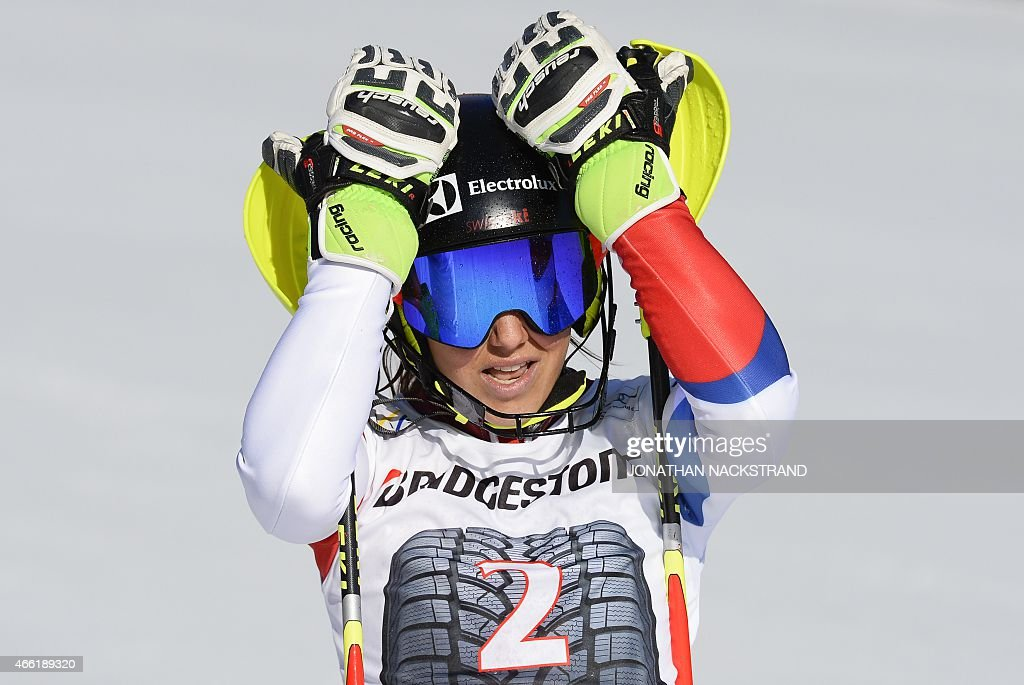 Switzerland's <a gi-track='captionPersonalityLinkClicked' href=/galleries/search?phrase=Wendy+Holdener&family=editorial&specificpeople=7471001 ng-click='$event.stopPropagation()'>Wendy Holdener</a> reacts after crossing the finish line of the FIS Alpine Ski World Cup women's slalom in Are, Sweden, on March 14, 2015. AFP PHOTO/JONATHAN NACKSTRAND