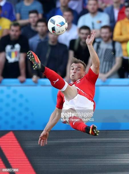Switzerland's Xherdan Shaqiri attempts a acrobatic effort on goal