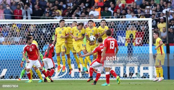 Switzerland's Xherdan Shaqiri attempts a free kick on goal