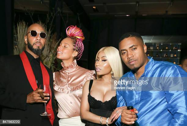 Swizz Beatz Alicia Keys Nicki Minaj and Nas attend hip hop artist Nas' private birthday dinner presented by Hennessy the world's bestselling Cognac...