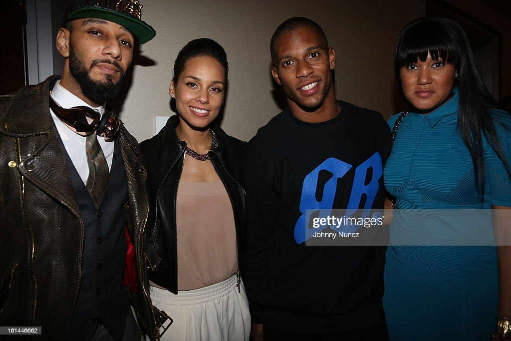 Swizz Beatz, Alicia Keys, Victor Cruz and Elaina Watley attend House Of Hype Monster Grammy Party at House Of Hype on February 10, 2013 in Los Angeles, California.