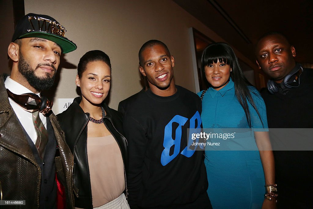 Swizz Beatz, Alicia Keys, Victor Cruz, Elaina Watley and Chaka Zulu attend House Of Hype Monster Grammy Party at House Of Hype on February 10, 2013 in Los Angeles, California.
