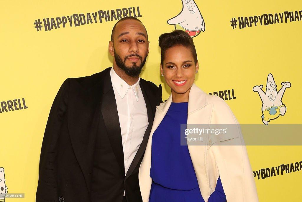 Swizz Beatz and Alicia Keys attend Pharrell Williams' SpongeBobthemed 41st birthday party at Bikini Bottom at Cipriani Wall Street on April 4 2014 in...