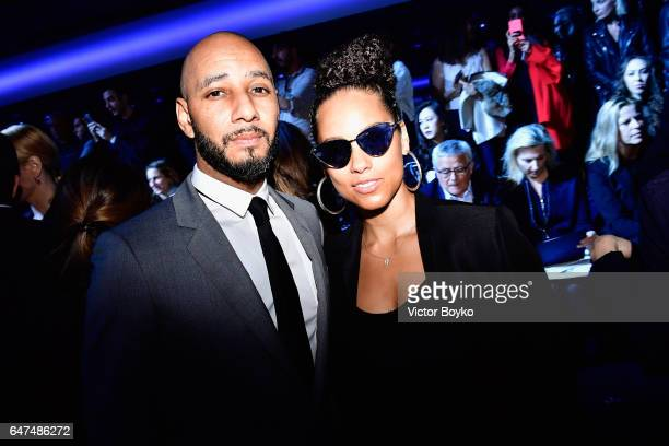 Swizz Beatz and Alicia Keys attend the Christian Dior show as part of the Paris Fashion Week Womenswear Fall/Winter 2017/2018 on March 3 2017 in...