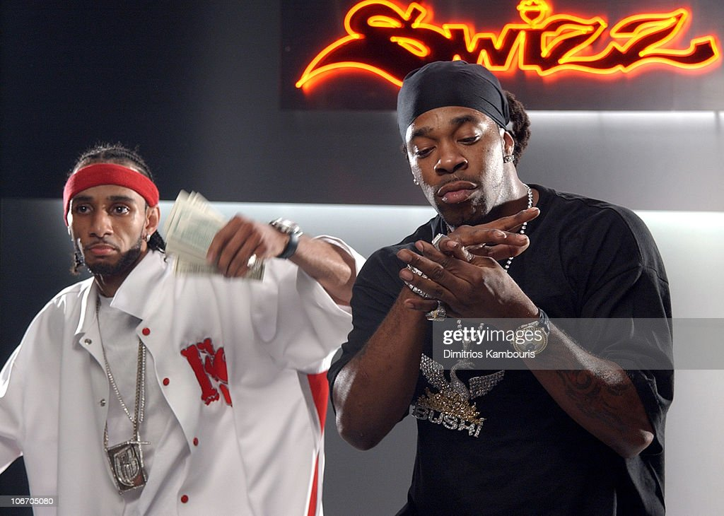 Swizz Beatz and Busta Rhymes during Swizz Beatz 'Bigger Business' Video Shoot Featuring Swizz, Cassidy, P. Diddy, Jadakiss, Baby, Ron Isley, Busta Rhymes and Snoop Dogg at Broadway Stages in Greenpoint, New York, United States.