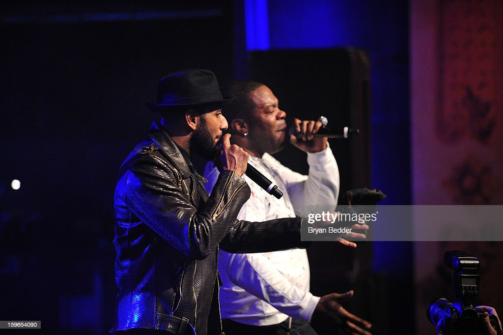 Swizz Beatz and Busta Rhymes perform at VH1 Save The Music Foundation's Songwriters Music Series Remix featuring Swizz Beatz & Friends, presented by Monster DNA Headphones & William Hill Estate Winery at Hard Rock Cafe New York on January 17, 2013 in New York City.