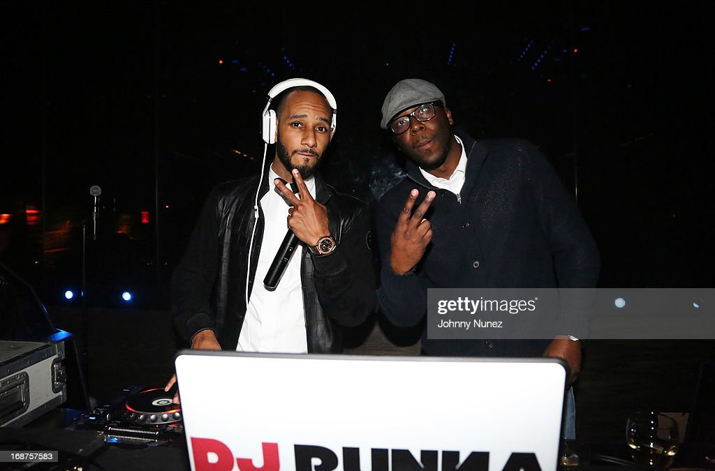 <a gi-track='captionPersonalityLinkClicked' href=/galleries/search?phrase=Swizz+Beatz&family=editorial&specificpeople=567154 ng-click='$event.stopPropagation()'>Swizz Beatz</a> and DJ Runna spin at the Bronx Charter School for the Arts 2013 art auction at Marquee on May 14, 2013 in New York City.