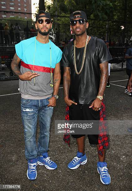 Swizz Beatz and Fabolous attend EBC's 'The Finale' Tournament for the Reebok Question Mid Draft Pick Release at Rucker Park on August 22 2013 in New...