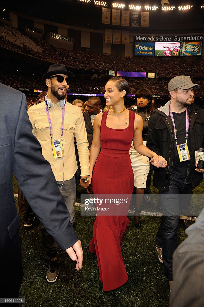 Swizz Beatz and singer Alicia Keys attend the Pepsi Super Bowl XLVII Pregame Show at Mercedes-Benz Superdome on February 3, 2013 in New Orleans, Louisiana.