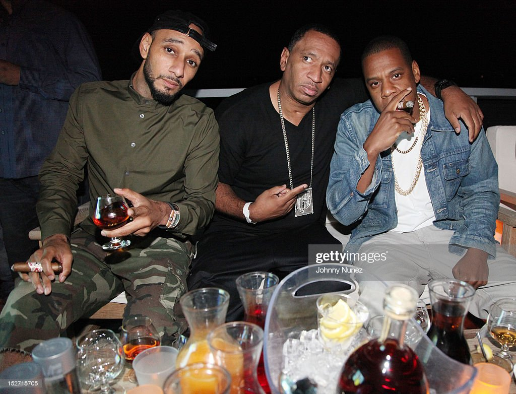 <a gi-track='captionPersonalityLinkClicked' href=/galleries/search?phrase=Swizz+Beatz&family=editorial&specificpeople=567154 ng-click='$event.stopPropagation()'>Swizz Beatz</a>, Founder of Ruff Ryders Entertainment Darrin 'Dee' Dean and Jay Z attend the <a gi-track='captionPersonalityLinkClicked' href=/galleries/search?phrase=Jay-Z&family=editorial&specificpeople=201664 ng-click='$event.stopPropagation()'>Jay-Z</a> And Beyonce Summer Ends With D'USSE Cognac Cocktails Celebration at La Marina Restaurant Bar Beach Lounge on September 23, 2012 in New York City.
