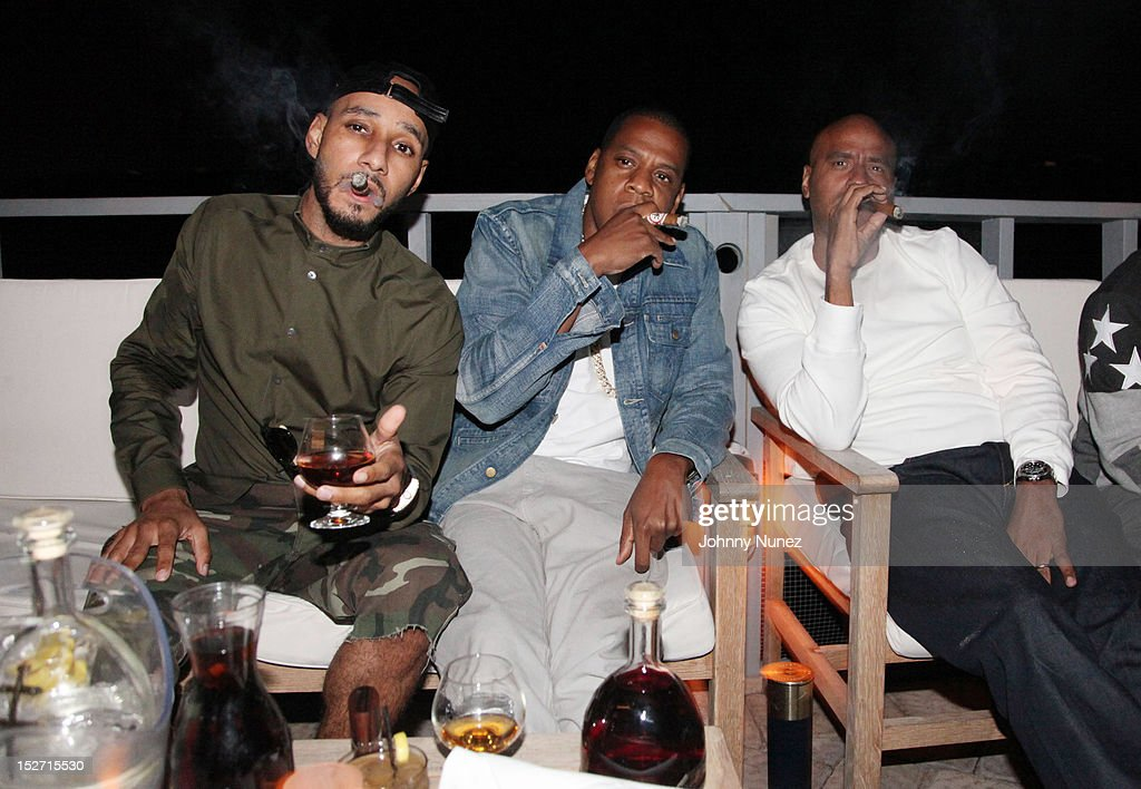 <a gi-track='captionPersonalityLinkClicked' href=/galleries/search?phrase=Swizz+Beatz&family=editorial&specificpeople=567154 ng-click='$event.stopPropagation()'>Swizz Beatz</a>, Jay Z and 'OG' Juan Perez attend the <a gi-track='captionPersonalityLinkClicked' href=/galleries/search?phrase=Jay-Z&family=editorial&specificpeople=201664 ng-click='$event.stopPropagation()'>Jay-Z</a> And Beyonce Summer Ends With D'USSE Cognac Cocktails Celebration at La Marina Restaurant Bar Beach Lounge on September 23, 2012 in New York City.