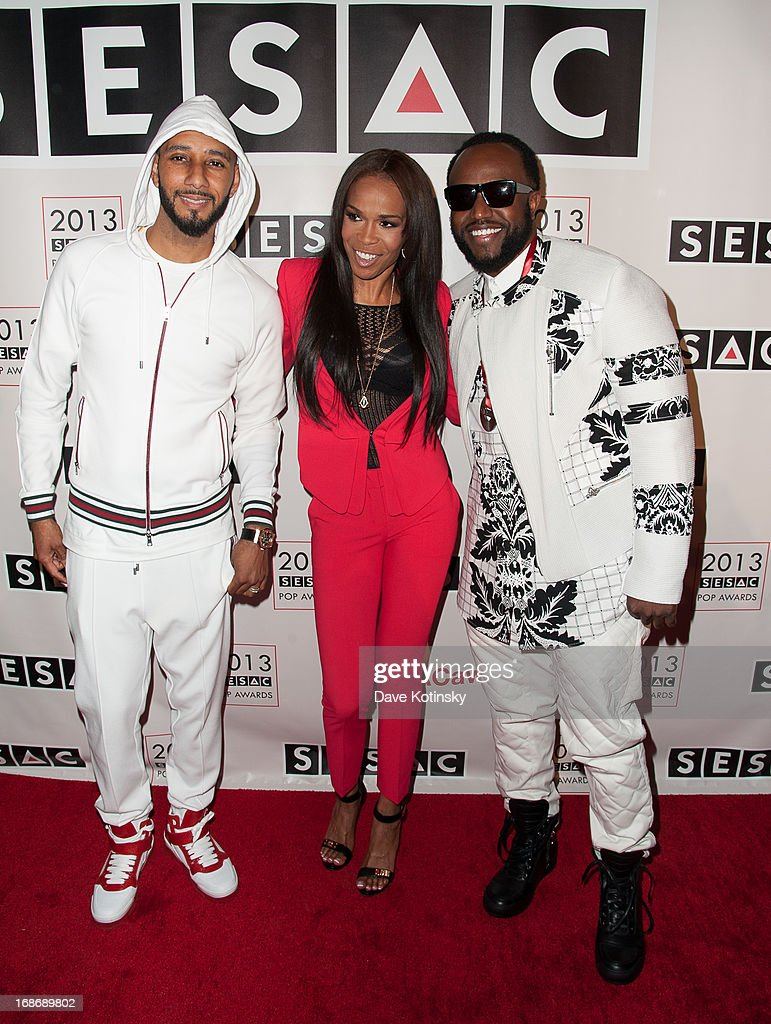 <a gi-track='captionPersonalityLinkClicked' href=/galleries/search?phrase=Swizz+Beatz&family=editorial&specificpeople=567154 ng-click='$event.stopPropagation()'>Swizz Beatz</a>, Michelle Williams and <a gi-track='captionPersonalityLinkClicked' href=/galleries/search?phrase=Rico+Love&family=editorial&specificpeople=691968 ng-click='$event.stopPropagation()'>Rico Love</a> attends 2013 SESAC Pop Music Awards at New York Public Library on May 13, 2013 in New York City.