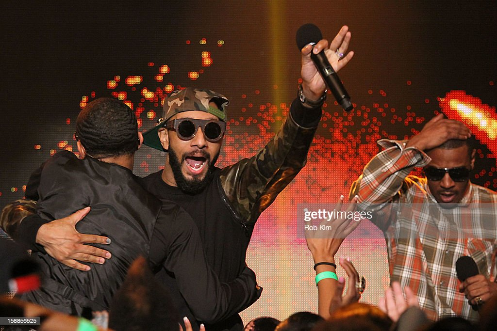 <a gi-track='captionPersonalityLinkClicked' href=/galleries/search?phrase=Swizz+Beatz&family=editorial&specificpeople=567154 ng-click='$event.stopPropagation()'>Swizz Beatz</a> performs at BET's '106 & Party' 2013 New Years Eve party at BET Studios on December 17, 2012 in New York City.