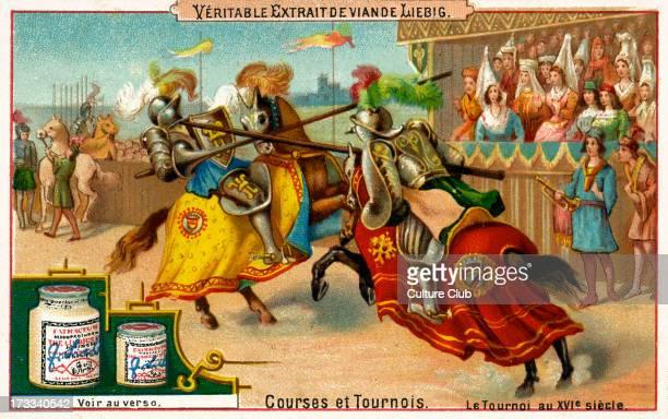 'La joute en champ clos XVième siècle' Liebig card series Courses et Tournois