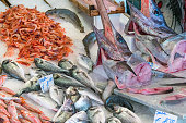 Swordfish and other fish and seafood for sale at a market in Palermo, Sicily