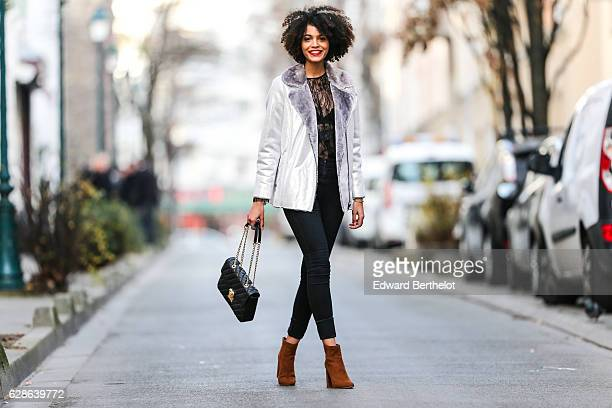 Syana Laniyan fashion and life style blogger @syanafromparis is wearing Just Fab brown suede shoes an Asos silver coat with faux fur an Asos black...