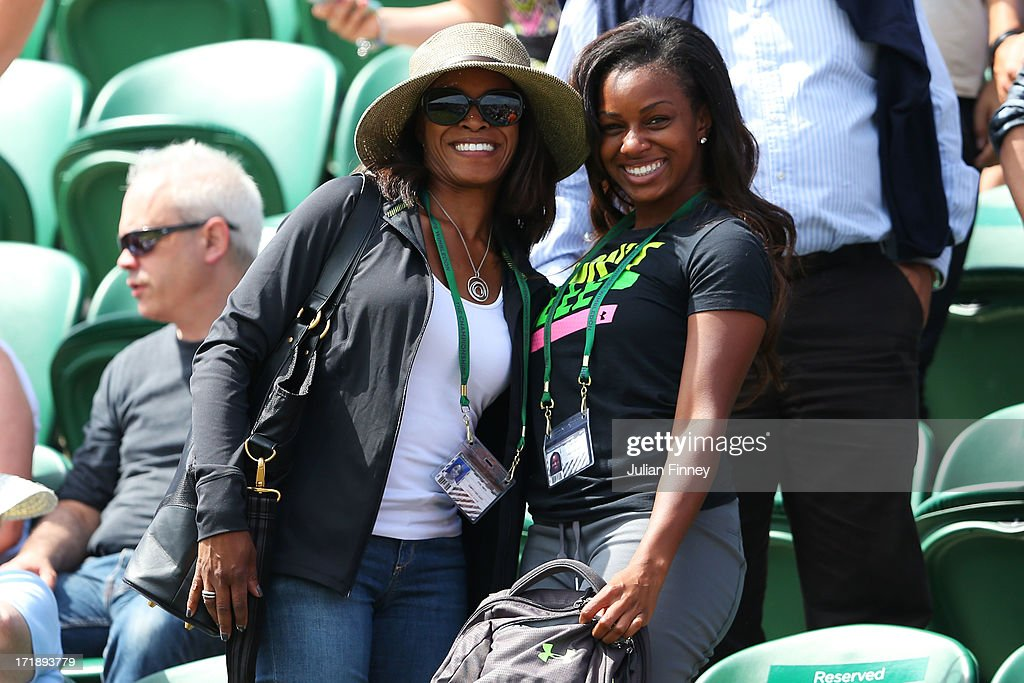 Sybil Smith (L), the mother of Sloane Stephens of United States of America attends her Ladies' Singles third round match against Petra Cetkovska of Czech Republic on day six of the Wimbledon Lawn Tennis Championships at the All England Lawn Tennis and Croquet Club on June 29, 2013 in London, England.