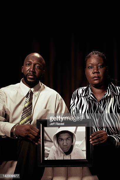 Sybrina Fulton and Tracy Martin parents of slain Florida teen Trayvon Martin are photographed for People Magazine on March 25 2012 at the Westin Lake...