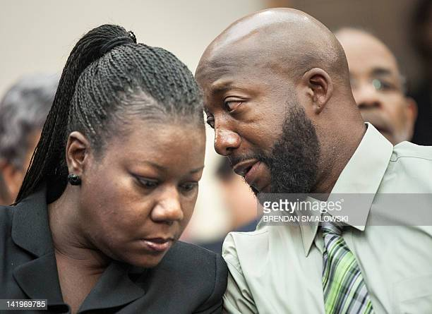 Sybrina Fulton and Tracy Martin parents of Trayvon Martin talk during a forum of Democratic members of the House Judiciary Committee on Capitol Hill...