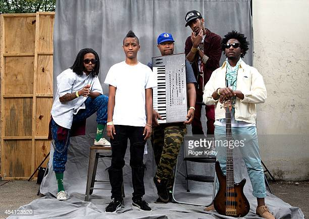 Syd tha Kyd of The Internet poses for a portrait with her band members backstage during day 2 of the AFROPUNK festival at Commodore Barry Park on...