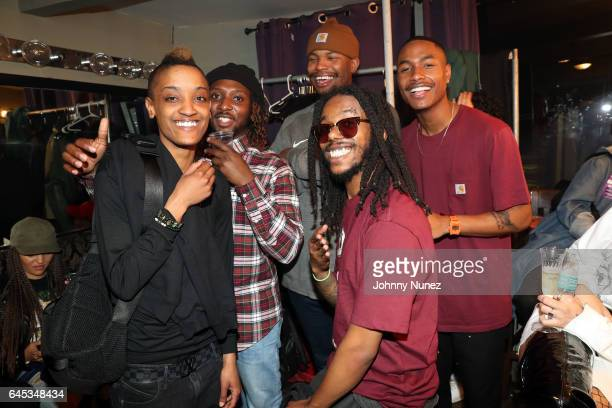 Syd Tha Kyd Patrick Paige Matt Martians Christopher Smith and Steve Lacy aka The Internet backstage at Webster Hall on February 23 2017 in New York...