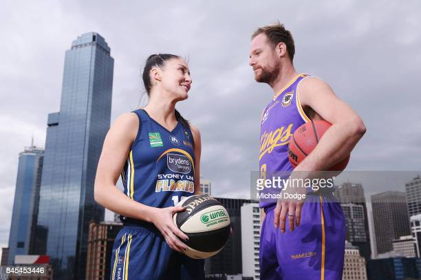 Sydeny based players KatieRae Ebzery Sydney Flames and Brad Newley Sydney Kings pose during the NRL Qualifying Final match between the Melbourne...