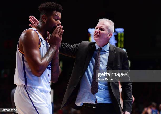 Sydeny Kings Coach Andrew Gaze consoles Jeremy Tyler of the Sydney Kings during the round seven NBL match between Adelaide 36ers and the Sydney Kings...