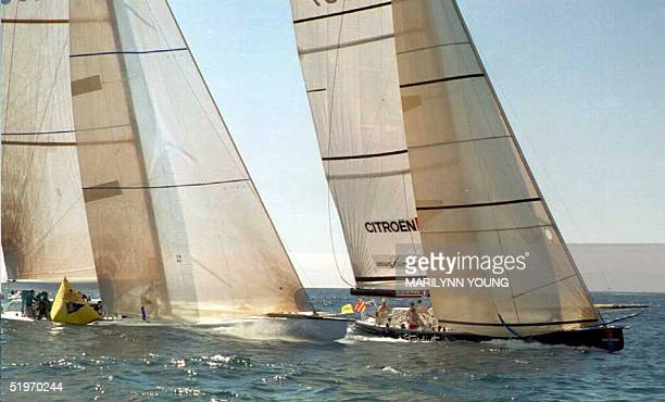 Sydey 95 takes the weather mark on the inside with France 3 on the outside 15 February during the America's Cup challenger series France lost by 0038...