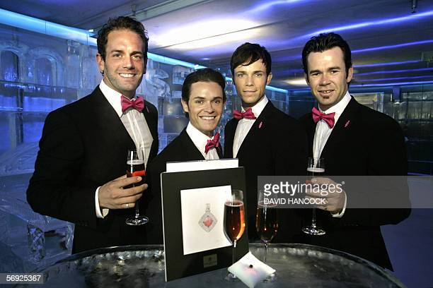 Members of Australia's premiere vocal group 'Human Nature' Toby Allen Michael Tierney Andrew Tierney and Phil Burton raise a glass of pink champagne...