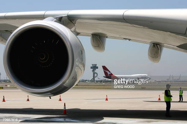 The engine of an Airbus A380 superjumbo with a Qantas passenger plane is shown on the jets wing after it had landed at Sydney Airport 28 November...