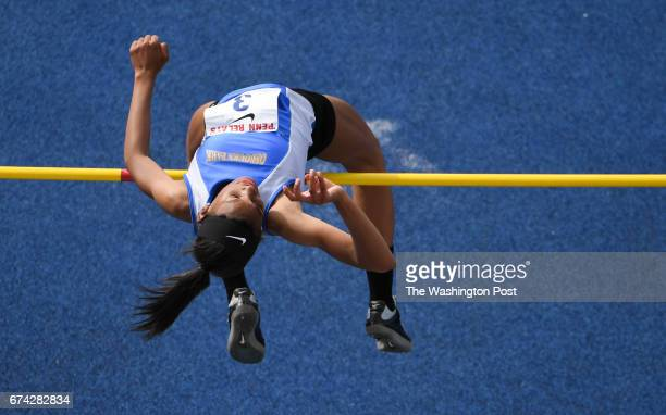 Sydney Banks of Osbourn Park High competes in the high jump during the 123rd running of the Penn Relays in Philadelphia PA on April 27 2017