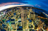 Aerial view of Sydney CBD from at night, fisheye view