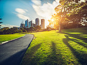 walkway  in the Royal Botanic Gardens leads to skyscrapers in the Sydney, Australia.