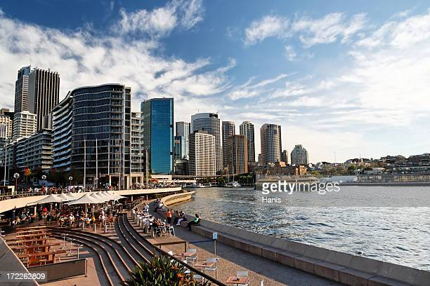 Sydney Circular Quay on clear day with blue sky and clouds