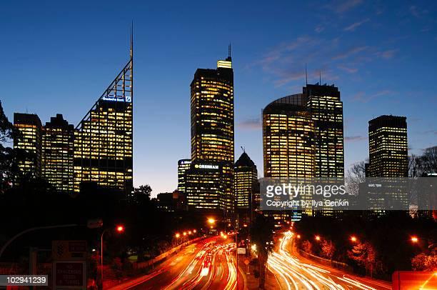 Sydney City at Night from Domain