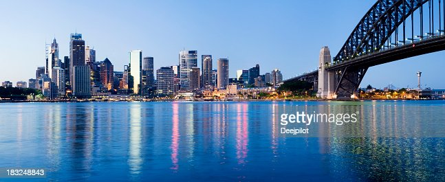 Sydney City Downtown Skyline at Night Australia