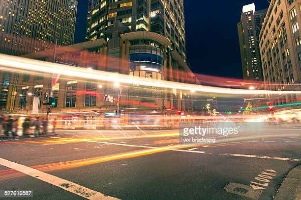 Sydney city roads at night