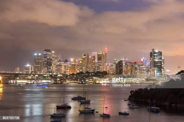 Sydney cityscape at night from Waverton Point