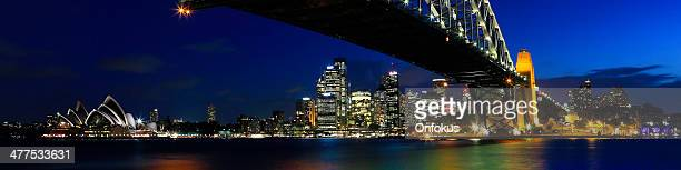 Sydney Cityscape with Opera House and Harbour Bridge at Night