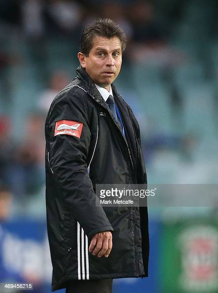 Sydney Coach Frank Farina looks on during the round 19 ALeague match between Sydney FC and Perth Glory at Allianz Stadium on February 15 2014 in...