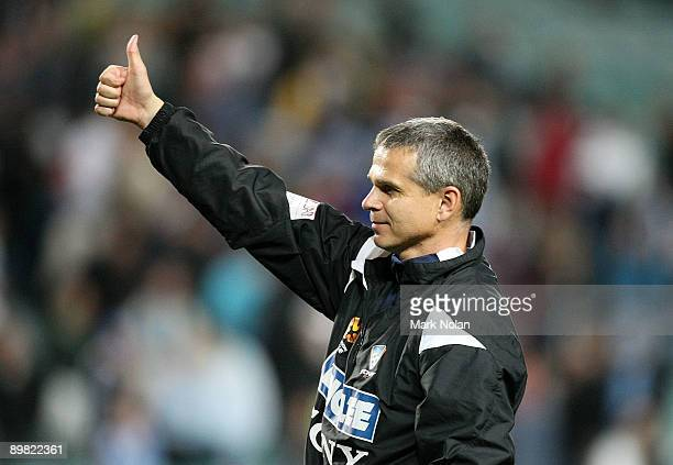 Sydney coach Vitezslav Lavicka acknowledges the crowd after winning the round two ALeague match between Sydney FC and Adelaide United at the Sydney...