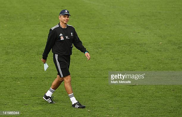 Sydney Coach Vitezslav Lavicka looks on during a Sydney FC training session at Macquarie Uni on March 28 2012 in Sydney Australia