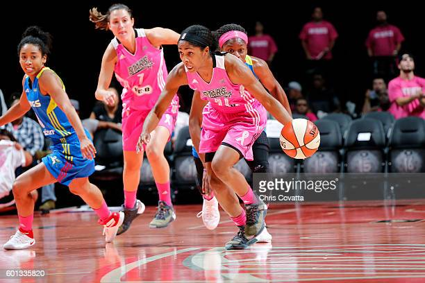 Sydney Colson of the San Antonio Stars brings the ball up court during the game against the Dallas Wings during the WNBA game on September 9 2016 at...