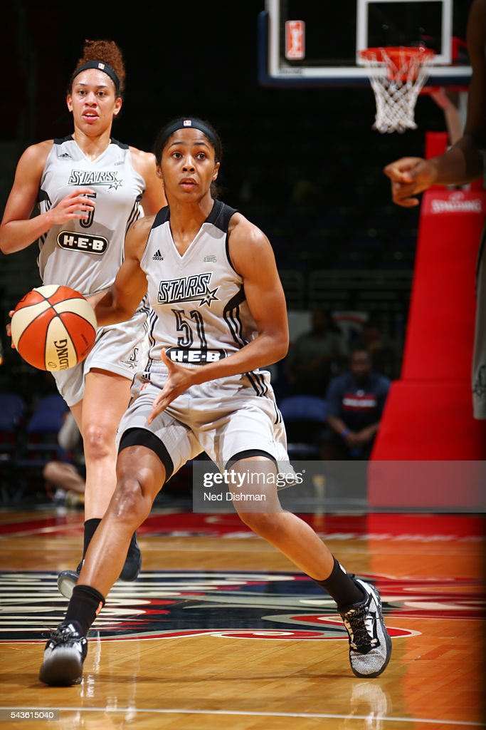 Sydney Colson #51 of the San Antonio Stars handles the ball against the Washington Mystics on June 29, 2016 at the Verizon Center in Washington, DC.