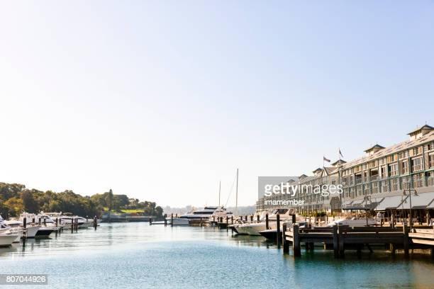 Sydney Cove Bay in winter sun, sky background, copy space
