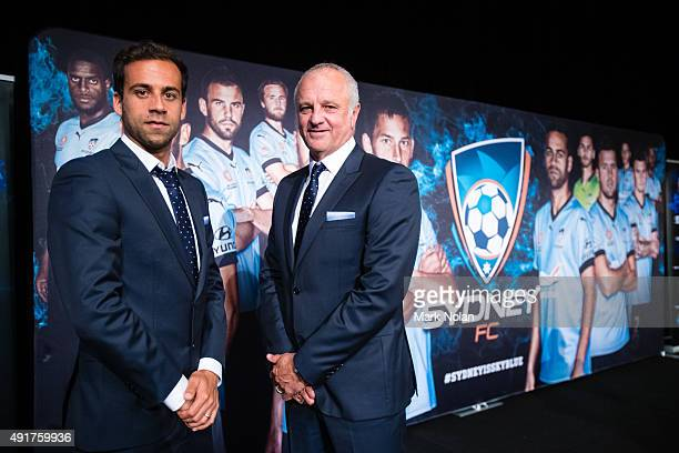 Sydney FC captain Alex Brosque and coach Graham Arnold pose during the Sydney FC ALeague season launch at The Westin hotel on October 8 2015 in...