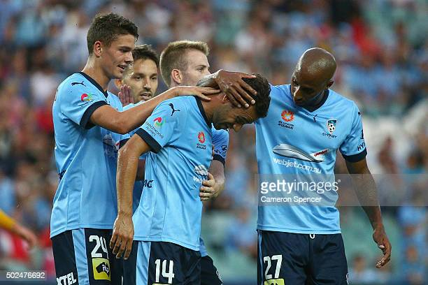 Sydney FC captain Alex Brosque celebrates kicking a penalty goal during the round 12 ALeague match between Sydney FC and the Central Coast Mariners...