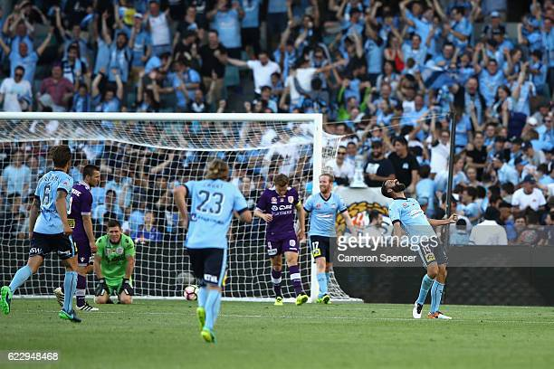 Sydney FC captain Alex Brosque celebrates scoring a goal during the round six ALeague match between the Sydney Kings and the Perth Widcats at Allianz...