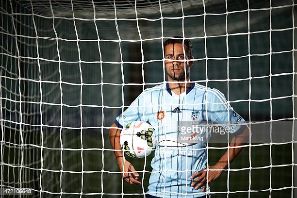 Sydney FC captain Alex Brosque poses during a Sydney FC ALeague Semi Final media opportunity at Allianz Stadium on May 4 2015 in Sydney Australia
